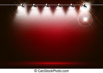 faíscas, fundo, iluminado, holofotes, vermelho