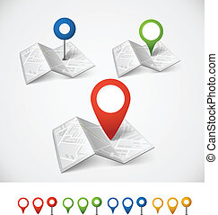 fałdowy, abstrakcyjny, miasto mapa, z, zbiór, od, kolor, szpilki