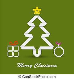 fałdowy, papier, drzewo, kartka na boże narodzenie