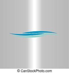 fałdzista woda, fale, logo, rzeka, ikona