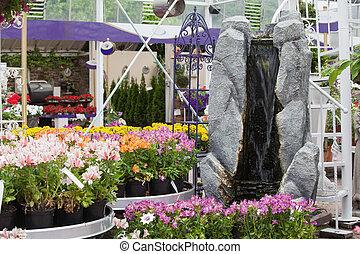 fałszować, wodospad, w, ogrodowy środek