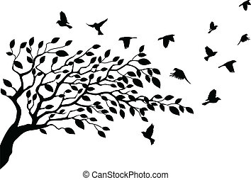fa, és, madár, árnykép