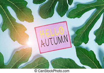 fa., ügy, évad, fénykép, írás, zöld, autumn., kiállítás, amikor, showcasing, után, szia, bukás, azt, jegyzet, nyár