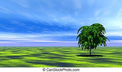 fa, alatt, zöld fű