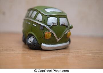 fa apró, furgon, zöld, szüret