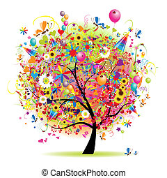 fa, boldog, ünnep, furcsa, léggömb