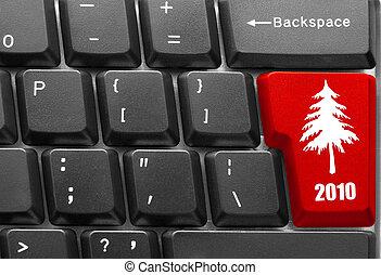 fa, computer kulcs, billentyűzet, karácsony, piros