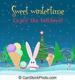 fa, cukorka, forest., háttér., jég, üregi nyúl, éjszaka, karácsonyi üdvözlőlap, krém