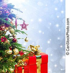fa, díszes, closeup, karácsony