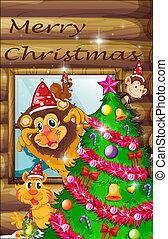 fa, díszes, körülvett, állatok, karácsony