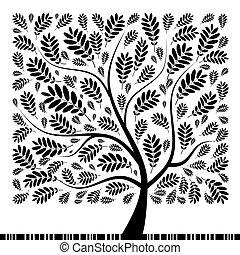 fa, -e, rowan, művészet, tervezés, gyönyörű
