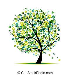 fa, -e, virágos, madarak, tervezés, spring.