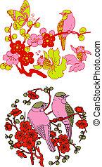 fa, embléma, madár, kínai, klasszikus