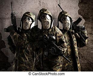 fa, fegyveres, katona