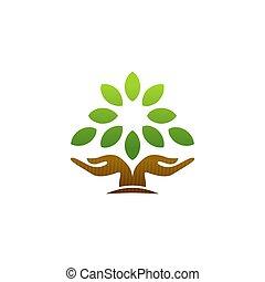 fa, fogalom, wellness, vektor, jelkép, természet, tervezés, jel, ikon, kéz