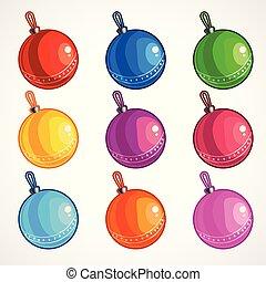 fa., herék, színezett, ábra, karácsony, vektor, karikatúra