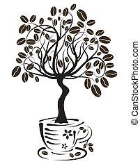 fa, kávécserje, vektor, csésze
