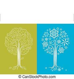 fa, különböző, vektor, tölgy, fűszerezni