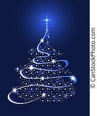 fa, karácsony, csillaggal díszít