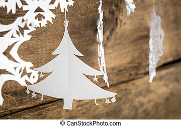 fa, karácsony, dolgozat, dekoráció, függő, ov, hópehely
