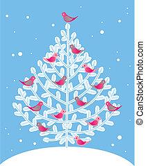 fa, karácsony, piros, madarak