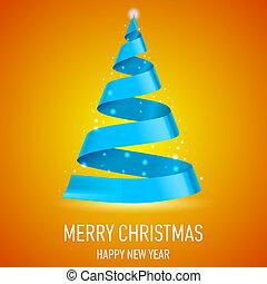 fa., karácsony, szalag