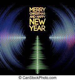 fa, karácsony, vinyl, barázdál, zenés, kártya