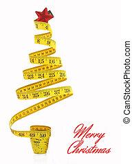 fa, mérőszalag, karácsony, elkészített