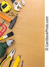 fa munka, asztal, eszközök, válogatott
