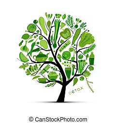 fa, noha, zöld, vegetables., skicc, helyett, -e, tervezés