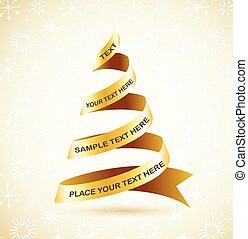 fa, szalag, arany-, karácsony