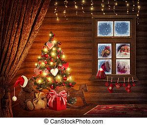fa, szoba, karácsony