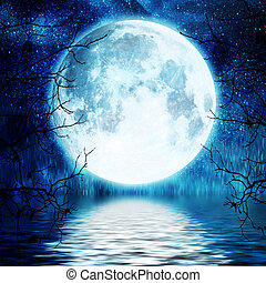 fa, tele, elágazik, ellen, hold
