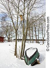 fa, vég, tél, csónakázik, nesting-box