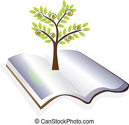fa, vektor, nyitott könyv, jel