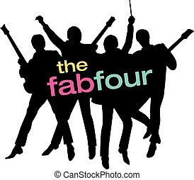 Fab Four Beatles Silhouette Vector - Vector illustration of...