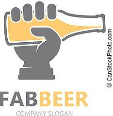 fabbrica birra, logo., mano, bottiglia, template., logotipo...