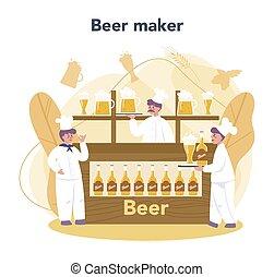 fabbrica birra, process., convept., produzione birra, fermentazione, mestiere, pescaggio