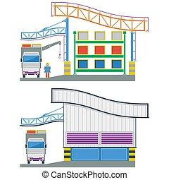 fabbrica, costruzione, sezione trasversale, magazzino, illustrazione