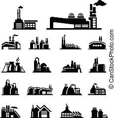 fabbrica, icona, vettore