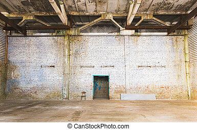 fabbrica, parete, mattone, abbandonato