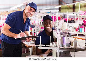 fabbrica tessile, direttore, e, lavoratore