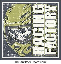 fabbrica, vettore, disegno, cranio, il portare, mano, da corsa, casco, testo