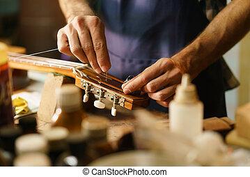fabbricante, artigiano, corda, corda, sostituendo, quotazione, liuto, chitarra, strumento
