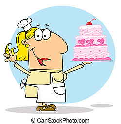 fabbricante, donna, torta, caucasico, cartone animato