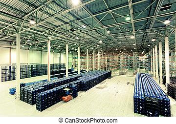fabbricazione, beni, costituzione, grande, magazzino, fabbrica, acqua, finito, minerale