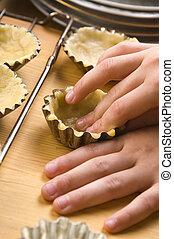 fabbricazione, biscotti, mani, dettaglio, bambino