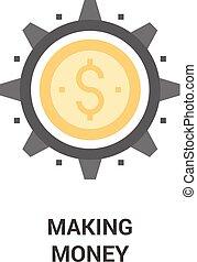 fabbricazione, concetto, soldi, icona