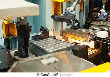 fabbricazione, cuoio, officina, calzatura