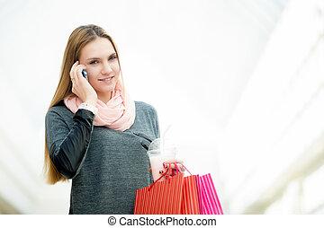 fabbricazione, donna, chiamata, giovane, supermercato